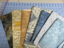 7 Pcs. Cotton Fabric Quilting Crafts Sewing- 4.33 Yds. Total Blue & Gold