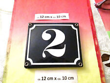 Hausnummer Emaille  Nr. 2 weisse Zahl auf blauem Hintergrund 12 cm x 10 cm