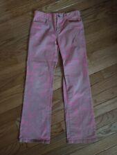 Lilly Pulitzer Girls Sz 8 Pink & Gold Print Flare Pants Euc Adjustable Waist