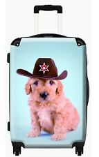 Cowboy Pup Kids Cabin Luggage - Lightweight, Hard Shelled Trolley Suitcase
