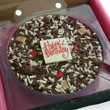 "7"" Happy Birthday Gourmet Belgian Milk Chocolate Pizza Gift Boxed Present Sweets"