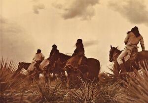 Vintage EDWARD CURTIS American Indian Apache Horseback GOLDTONE Photo Art 16x20