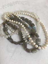 Triple Strand Gray Color Semi Precious Stone Pearl Beads Toggle Clasp Necklace