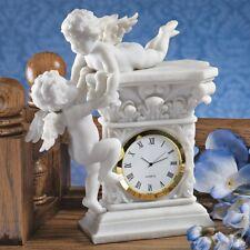 Cute Marble Desk Clock Twin Cherubs Design Hand Finished Home Garden Classic New