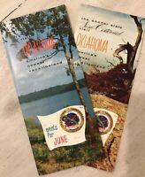 Set 2 Vintage Antique 1957 Oklahoma Travel Vacation Guide Brochure 50th Anniv