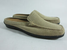 Minnetonka Beige Suede Flat Clog Mules Slides Moccasin Shoes Womens Sz 8