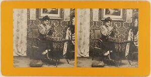 Scène Artistique Femme Mode La Puce c1900 Photo Stereo Vintage Argentique