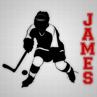 Hockey player wall decals,vinyl wall youth Hockey silhouette sticker name decal