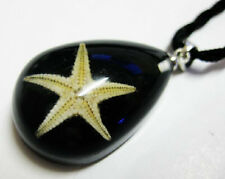 NEW BLACK STARFISH LUCITE NECKLACE PENDANT INSECT JEWELRY TAXIDERMY GIFT