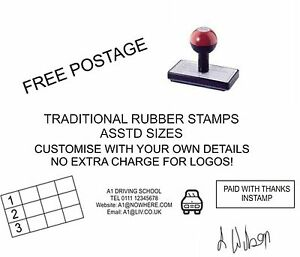 PERSONALISED NAME ADDRESS RUBBER STAMP ANY WORDING LOGO BUSINESS SCHOOL OFFICE