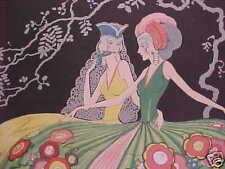 ANTIQUE original ART NOUVEAU DECO PRINT two ladies 1920
