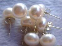 4 sets 7-8mm weiße flache Perle Ohrringe