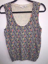 Designer Boden Top 8 Cashmere Blend Abstract Funky Sleeveless Shell LN