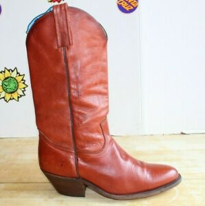 Vintage FRYE Men's Cowboy Western Brown Caramel Boots, Size 11 D Made in USA