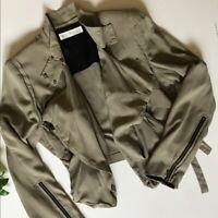 WHISTLES 100% SILK Khaki JACKET Size UK 10 8 RARE Blogger £250