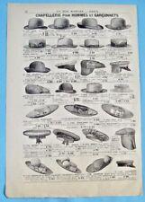 1905 Ancienne Publicité Gravure Modes Chapellerie Yatch Casquette Anglaise cape
