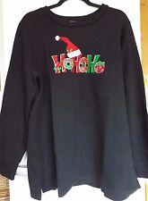 Quacker Factory Ho Ho Ho Sweatshirt black large new & tags