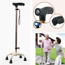 Height Adjustable Aluminium Quad Cane Walking Stick With LED Light Self-Standing