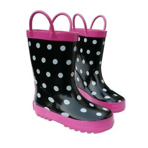Black & White Toddler Boys Girls Rain Boots 5-10