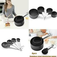 8Pcs/Set Stainless Steel Measuring Cups Spoons Set Kitchen Baking Tools Durable