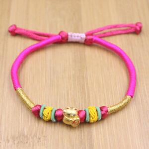 Real 24K Yellow Gold Bracelet For Women Luck Cat Gold Bead Red Agate Bracelet