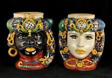 TRADIZIONALE COPPIA TESTE MORO H30 in ceramica di Caltagirone