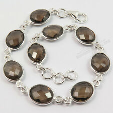 FINE EDH 925 Sterling Silver Natural SMOKY QUARTZ Gems Women's Fashion Bracelet