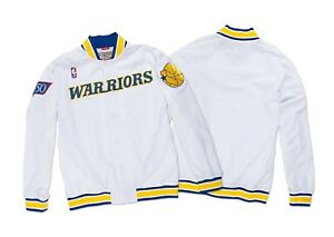 Mitchell & Ness Authentic GOLDEN STATE WARRIORS VINTAGE Warm Up Jacket IN WHITE