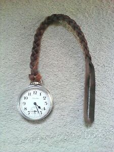 EXTRA HEAVY DUTY LEATHER POCKET WATCH STRAP, FOB, CHAIN. (brown)