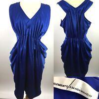 Amanda Wakeley Womens Midi Dress 16 Ladies Occasions Spring Blue Plated Designer