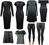New Womens Ladies Cap Sleeve Bodycon Stretch PVC WetLook Midi Leggings Top Dress