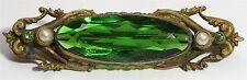 Vintage Art Deco Ornate Czech Faceted Green Garnet Glass Pearl Bar Brooch Pin