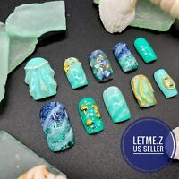 3D Sea Shell Marble Turquoise Unique Square Nails Glue On Nails Press on Nails