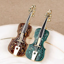 Fashion Handmade Alloy Stainless Steel Enamel Violin Instrument Brooch Pin Gift