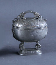 ANTIQUE CHINESE PEWTER CONTAINER JARS CHESTS BOX