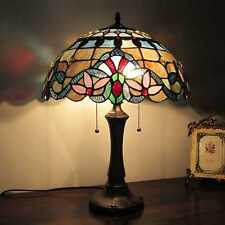 "Tiffany Style Table Lamp Victorian Design Blue Amber Red Stained Glass 22 "" High"