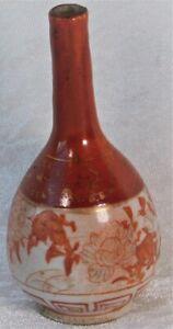 ATQ 1800's JAPANESE RED KUTANI HAND PAINTED BIRDS PORCELAIN BOTTLE BUD VASE