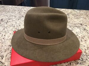 VTG MALLORY BY STETSON BROWN WOOL FEDORA HAT MEN'S SIZE  MED OUTBACK STYLE