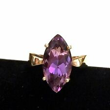 Vintage 14K Yellow Gold Marquis Purple Amethyst Ladies Women's Ring Size 8