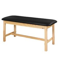"Treatment Exam Table Flat top Wooden H-brace frame 30"" Black"