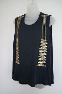 sass & bide 'the greater good' black beaded sleeveless top…size small…vgc...