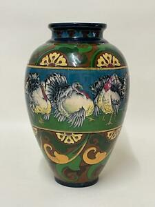 Rare Intarsio Foley Wileman & Co Vase by Frederic Rhead 3280 Turkey Rooster