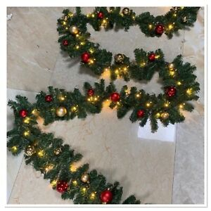 Christmas Garland 5M with Baubles and Lights