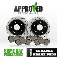 [Front Set] Premium Drilled and Slotted Disc Brake Rotors Pair With Ceramic Pad