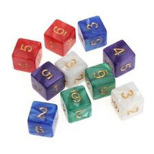 10pcs Multicolor 6 Sided 16mm Pattern Resin Pearl Dice Board Game Accessories