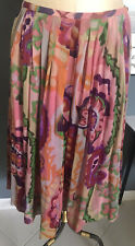 NWT Oilily Multicolor Long Floral Pleated Silk Skirt Cotton Lining Womens Sz 38
