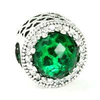 Authentic Pandora 791725CZ Silver S925 Charm Clear Green Radiant Hearts