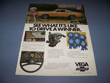 VINTAGE..CHEVY VEGA GT.. ORIGINAL COLOR SALES AD...RARE! (388F)