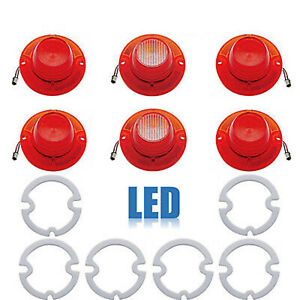 62 Chevy Impala Rear LED Tail & Back Up Light  Lenses w/ Gaskets Set of 6