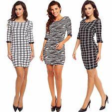 Damen Etui Kleid Etuikleid 3/4 Ärmel gemustert S M 34 36 38 Büro Business Party